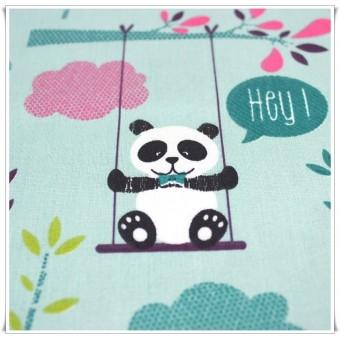 Retal tela osos panda verde 69 x 71 cms