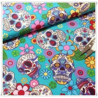 Tela turquoise flowers skulls