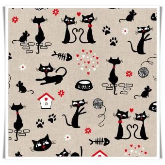 Loneta gatos, ratones y ovillos
