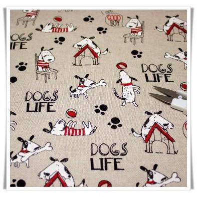 Loneta estampada dogs life