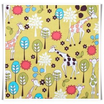 Tela jirafas jardin amarillo 54 cms