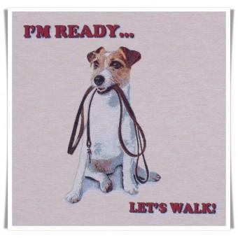 Loneta gobelin panel perro de paseo