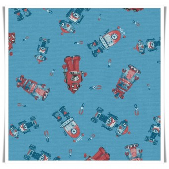 Loneta robots hojalata azul