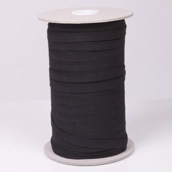 Goma plana elástica negra 10mm calidad básica