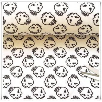 Retal jersey calaveras blanco 100 cms