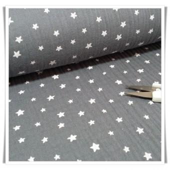 Tela muselina estrellas gris