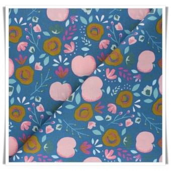 Tela algodon impermeable manzanas y flores