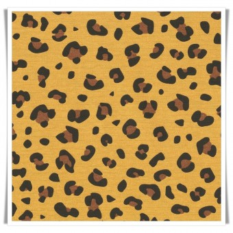 Retal loneta mostaza animal print 50x140 cms