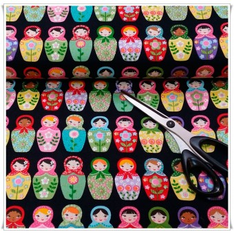 Fat quarter Russian Dolls f. negro