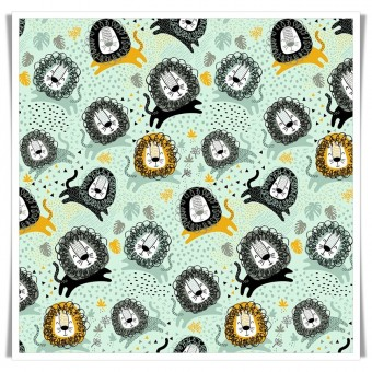 Fat quarter tela leones chic menta