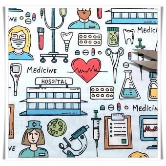 Fat quarter doctor medicina dibujo pequeño