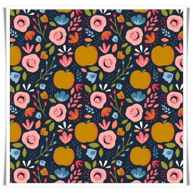 Tela manzanas y flores peachy