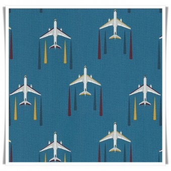 Loneta aviones azul