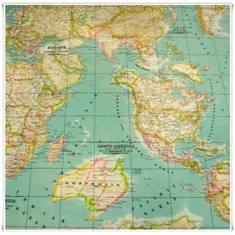 Retal tela Mapa Mundi azul 44 cms