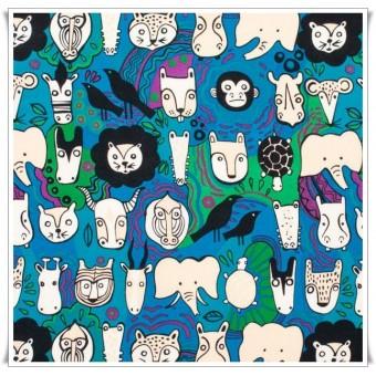 Retal faces azul 45 cms