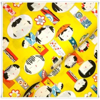 Retal tela japoneses amarillo 42 cms