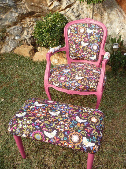 Sofa tapizado con telas de patchwork americano