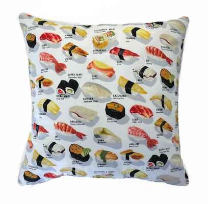 Funda cojin tela sushi pescado