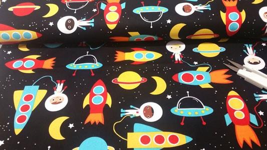 Detalle tela exploradores del espacio