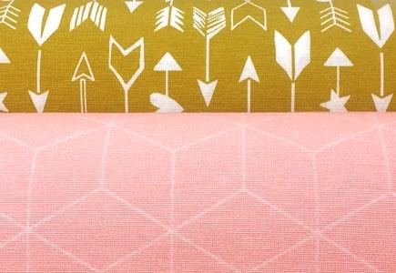 Combinacion telas de loneta rosa y mostaza