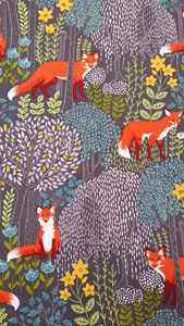 Tela con zorros patchwork