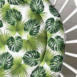Funda silla loneta hojas verdes
