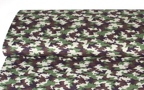 Tela estampado militar camuflage verde y marrón