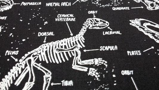 Detalle tela algodon dinosaurios que brillan en la oscuridad